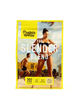 Pudra proteica Protein World The Slender Blend Strawberry Milkshake High protein fara zahar, 600 g