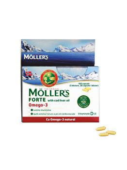 Capsule cu ulei din ficat de cod Moller's Forte Omega 3, 150 capsule de la Moller's