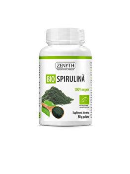 Supliment alimentar pentru detoxifiere și energizare Zenyth Bio Spirulina 80 g pulbere de la Zenyth