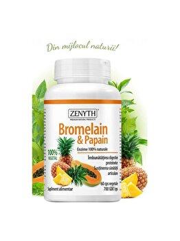 Supliment alimentar pentru îmbunătățirea digestiei proteinelor și susținerea articulațiilor Zenyth Bromelain&Papain 60 capsule x700 GDU de la Zenyth