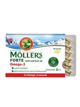 Capsule cu ulei din ficat de cod Moller's Forte Omega 3, 30 capsule de la Moller's