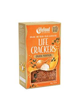 Lifecrackers cu dovleac si ceapa Lifefood raw bio fara gluten, 90 g de la Lifefood