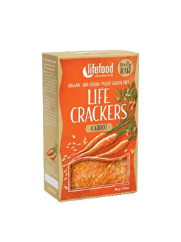 Lifecrackers cu morcovi Lifefood raw bio fara gluten, 80 g de la Lifefood