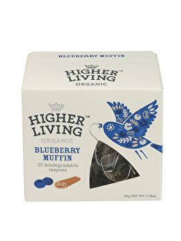 Ceai premium blueberry Higher Living muffin bio 20 dz, 50 g