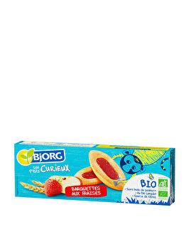 Barcute pentru copii cu gem de capusuni Bjorg Eco Petit Curieux 120 grame