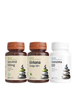 Pachet pensionari(Spirulina 500mg+Ginkana 50+ +Coenzima Q10 10 mg) Alevia 30+30+30 comprimate Alevia