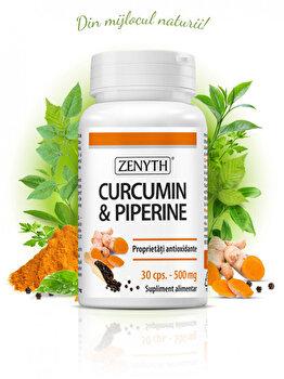 Supliment alimentar 100% natural, cu turmeric și piper Zenyth Curcumin & Piperine Flacon - 30 capsule de la Zenyth