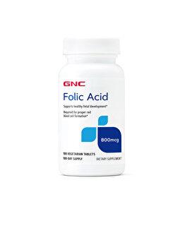 Supliment Alimentar GNC Acid Folic 800 mcg, 100 tablete de la GNC