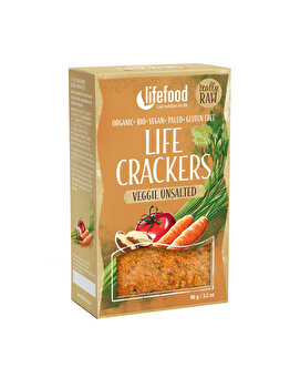 Lifecrackers cu legume fara sare Lifefood raw bio fara gluten, 90 g de la Lifefood