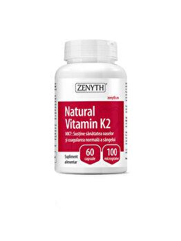 Supliment alimentar pentru sănătatea oaselor şi coagularea normală a sângelui Zenyth Natural Vitamin K2 60 capsule x100 mcg de la Zenyth