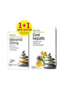 Silimarina + Ceai hepatic Alevia 50+20 plicuri de la Alevia