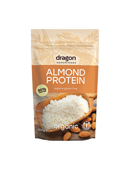 Pudra proteica din migdale Dragon Superfoods raw fara gluten bio, 200 g Dragon Superfoods