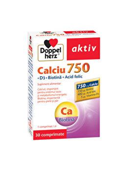 Supliment alimentar Doppelherz Aktiv Calciu 750 + D3 + Biotina+Acid Folic 30 comprimate de la Doppelherz