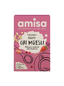 Muesli cu fructe si ovaz Amisa bio fara gluten merisor si capsuni, 325 g