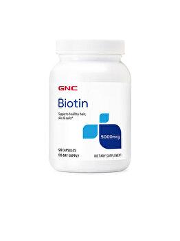 Supliment Alimentar GNC Biotin 5000 mcg, Biotina, 120 cps GNC