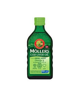 Ulei din ficat de cod Moller's Omega 3 cu aroma de mere verzi, 250ml de la Moller's