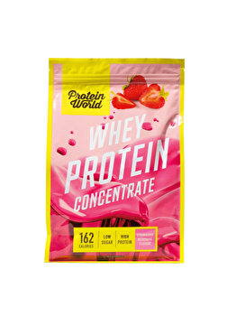 Pudra proteica concentrata 100% World Whey Protein Blend Strawberry Milkshake High protein fara zahar, 520 g