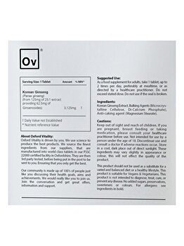Supliment alimentar Oxford Vitality Ginseng Ultra 3125 mg, 500 tablete Oxford Vitality