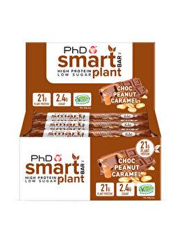 Baton proteic vegan PhD Smart Bar Plant Choc Peanut Caramel, 12x64 grame PhD