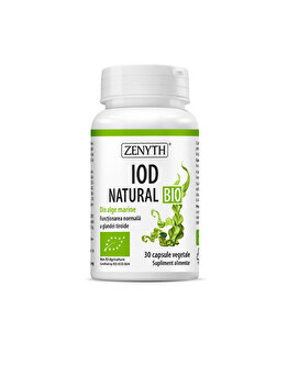 Supliment alimentar bio, certificat CERES, din algele kelp și spirulină Zenyth Iod Natural Bio 30 capsule 30 capsule de la Zenyth