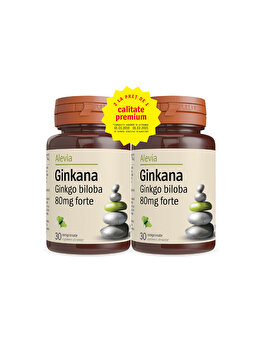 Ginkana Ginkgo biloba Alevia 80 mg forte pachet 30+30 comprimate