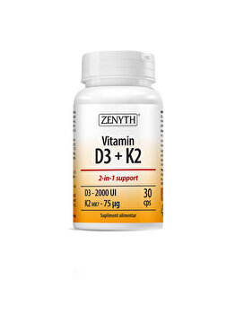 Suplimente alimentare cu 2000 UI vitamina D3/capsulă Zenyth Vitamina D3 + K2 30 capsule de la Zenyth