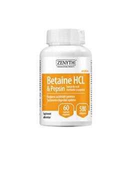 Supliment alimentar pentru combaterea hipoacidității gastrice și susținerea digestiei Zenyth Betain HCI & Pepsin 60 capsule x 580mg de la Zenyth