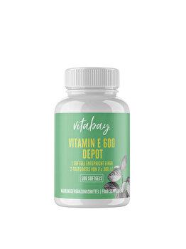 Vitabay Super Vitamina E 600 UI pe doza, doza mare, 100 Capsule vegan de la Vitabay