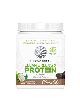 Proteina vegetala Sunwarrior Clean Greens & Protein Chocolate, 175 grame