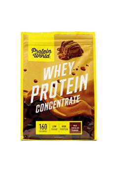Pudra proteica concentrata 100% Protein World Whey Protein Blend Milk Chocolate High protein fara zahar, 520 g Protein World
