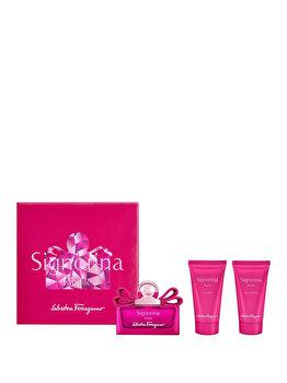Set cadou Salvatore Ferragamo Signorina Ribelle (Apa de parfum 50 ml + Lotiune de corp 50 ml + Gel de dus 50 ml), pentru femei imagine