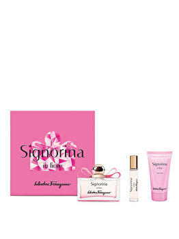 Set cadou Salvatore Ferragamo Signorina In Fiore (Apa de toaleta 100 ml + Lotiune de corp 50 ml + Apa de toaleta 10 ml), pentru femei imagine