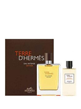 Set cadou Hermes Terre D'Hermes Eau Intense Vetiver (Apa de parfum 100 ml + Gel de dus 80 ml), pentru barbati imagine produs