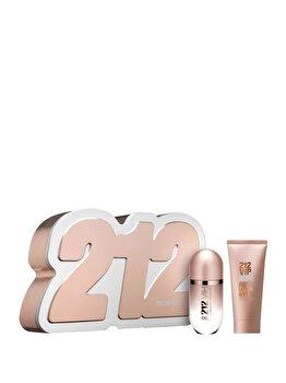 Set cadou Carolina Herrera 212 VIP Rose (Apa de parfum 50 ml + Lotiune de corp 75 ml), pentru femei imagine produs