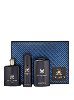 Set cadou Trussardi Uomo (Apa de toaleta 100 ml + Gel de dus 200 ml + Deospray 100 ml), pentru barbati imagine produs