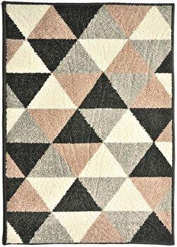 Covor Decorino Modern & Geometric C23-031604, Roz/Gri/Negru, 100x150 cm