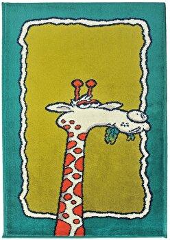 Covor Decorino Copii & Tineret C23-032201, Verde/Portocaliu, 100x150 cm elefant