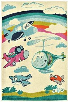 Covor Decorino Copii & Tineret C23-032208, Alb/Multicolor, 100x150 cm elefant