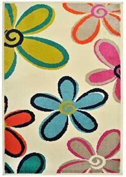 Covor Decorino Floral C103-032211, Bej/Multicolor, 200x285 cm