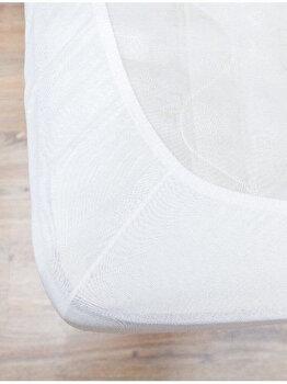 Cearceaf de pat Mendola Jersey cu elastic, 277-CE90200-01, 90 x 200 cm, Alb imagine
