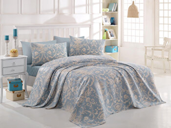 Cuvertura de pat dublu EnLora Home, din bumbac 100 procente, 200 x 235 cm, 162ELR5216 imagine