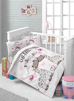 Set lenjerie de pat pentru copii Patik, din bumbac ranforce 100 procente, 100 x 150 cm, 170PTK2011 elefant