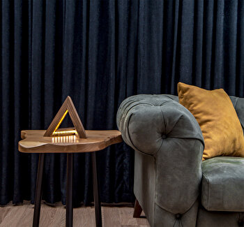 Lampa de masa Lustro, din lemn, 22 x 22 x 21 cm, facuta manual, 812LST1402 imagine