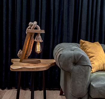 Lampa de masa Lustro, din lemn, 20 x 35 x 10 cm, facuta manual, 812LST1413 imagine