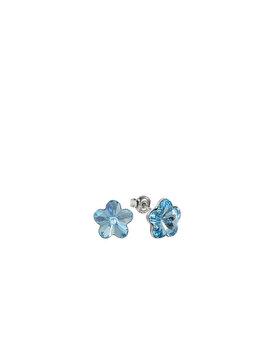 Cercei e-Crystal din Argint 925 placat cu rodiu cu cristale Swarovski Flower, 10mm, Aquamarine, CFS1006 elefant imagine 2021