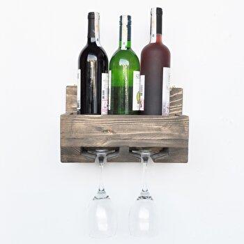 Raft pentru sticle Evila Originals, 792EVL1689, lemn masiv 100 procente, 30 x 20 x 14 cm imagine