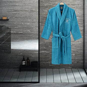 Halat de baie Beverly Hills Polo Club, 355BHP1703, bumbac 100 procente, M/L, Albastru imagine