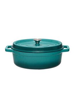 Semioala + capac, Cooking by HEINNER, HR-KB32-OVAL, Taste of Home by Chef Sorin Bontea, 33 x 26 cm, 5.9 L, fonta emailata, Albastru