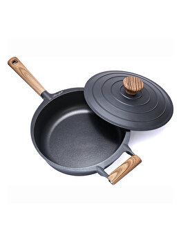 Tigaie adanca aluminiu + capac, 28 x 8.5 cm, 4.5L, Taste of Home by Chef Sorin Bontea, Negru imagine