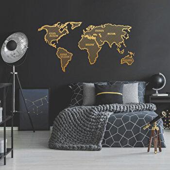 Decoratiune pentru perete, Ocean, metal 100 procente, 120 x 65 cm, 874OCN1064, Auriu